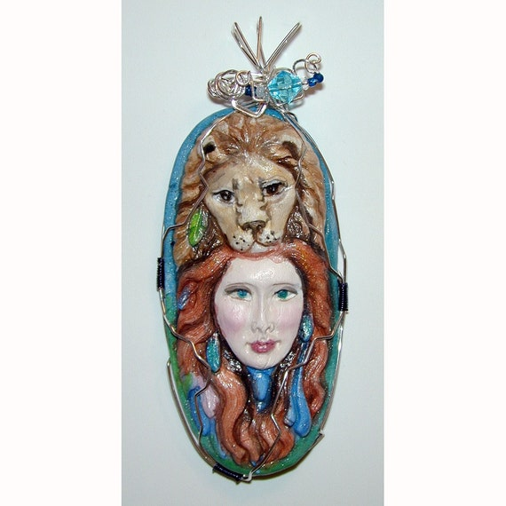 Lady and the Lion Stunning Strength Hand painted pendant
