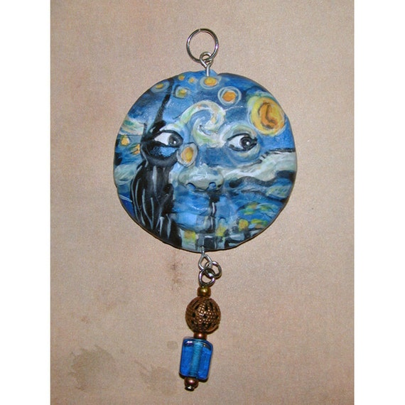 HANDPAINTED STARRY NIGHT Van Gogh style face pendant