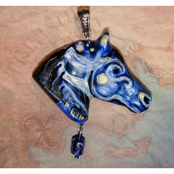 Stunning Starry Night Arabian Horse Handpainted Pendant
