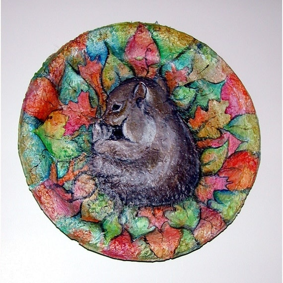 Handcast Paper Mixed Media Autumn Squirrel titled SLEEPING TIL SPRING