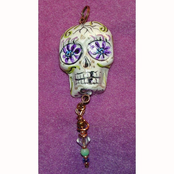 Day of the Dead Halloween Skull El Dia de los Muertos OOAK Pendant