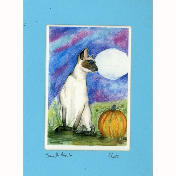 Siamese Cat Halloween in the pumpkin patch Print 2 of 250