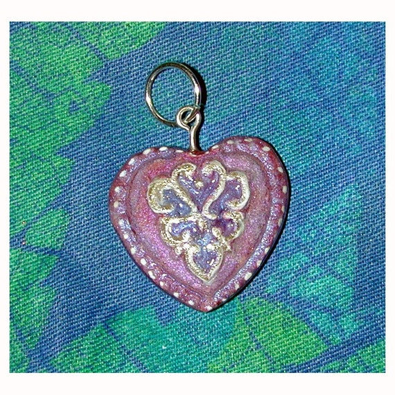 Romantic Heart Pendant Pink Blue and Silver