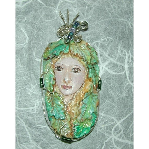 Greenwoman Green Woman Handpainted Clay Face Pendant