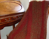 OOAK Decorative Throw in a Red and Moss Green Mohair Blend