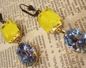 Vintage Yellow Givre Octagon Glass & Sapphire Blue Vintage Crystal Earrings