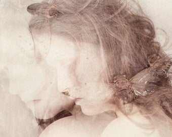 The Nymph Emerging FREE SHIPPING Surreal photo print Double exposure Girl with cicada Creepy portrait Bug Cream White Pink Brown Fine art