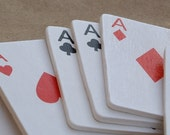 8 miniature wooden playing cards - aces