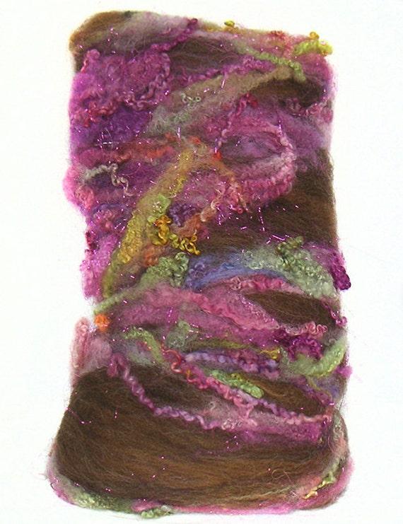handcarded batts spinning fiber 3.2 oz