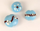 Turquoise, Brown & Ivory Lampwork Glass Beads (3)