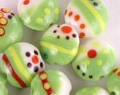 Bright Lentil Lampwork Glass Beads (12)