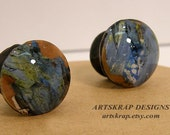 Blue and Black, Custome Knobs, Recycled Paint, Artskrap, Home Decor, Eco Design, Upcycled, Woodworking, Furniture, Art,