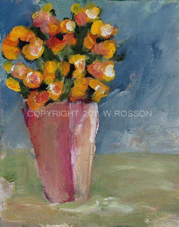 Pink Vase Yellow Flowers Painting Original Acrylic