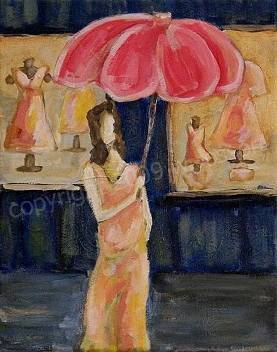 Original Acrylic Painting Woman, Female, Shopping, Clothing, Shoes, Umbrella, Window, Shop, Winjimir