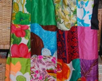 Vintage 60s 70s Alice Polynesian Fashions Patchwork Wrap Skirt Hippie Boho Mod