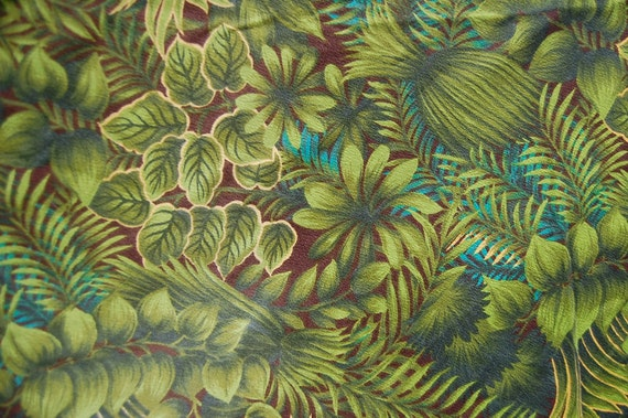 Vintage 85 inch round tropical barkcloth tablecloth green for 85 inch tablecloths