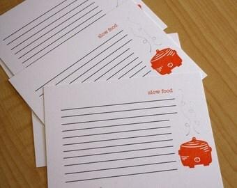 Slow Food Recipe Cards - Crockpot Recipe Cards - Soup Stew Recipe Cards - Hand Printed Recipe Cards - Set of 5