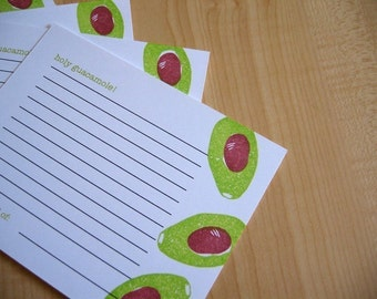 Guacamole - Handmade Recipe Cards - Set of 5