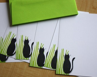 Black Cat in Grass - Black Cat Stationery - Cat Flat Note Stationery - Black Cat Hand Printed Stationery - Set of 6