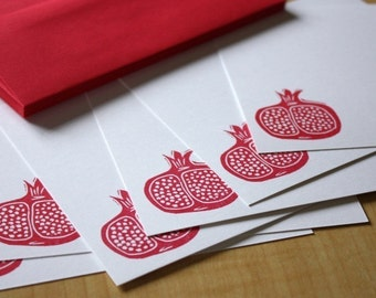 Pomegranate Stationery - Fruit Note Cards - Hand Printed Flat Note Stationery - Set of 6