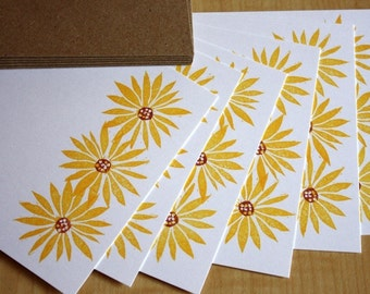 Black Eyed Susans Note Cards - Floral Stationery - Flower Flat Notes - Yellow Flower Note Cards - Handmade Stationery - Set of 6