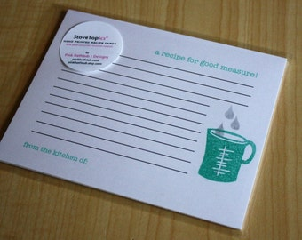 Measuring Cup Recipe Cards - Recipe for Good Measure - Handmade Recipe Cards - Set of 5