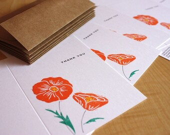 California Poppy Cards - Poppy Thank You Cards - Flower Thank You - Hand Printed Note Cards - Box of 6