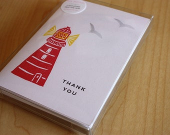 Lighthouse Thank You Cards - Hand Printed Lighthouse Cards - Box of 6