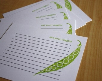 Peapod - Eat Your Veggies - Handmade Recipe Cards - Set of 5