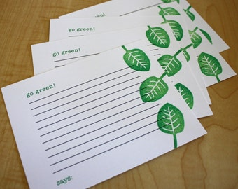 Go Green - Vegetarian Recipe Cards - Vegetable Recipe Cards - Vegan Recipe Cards - Hand Printed Recipe Cards - Set of 5