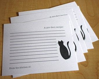 Black Cat - Prr-fect Recipe - Handmade Recipe Cards - Set of 5