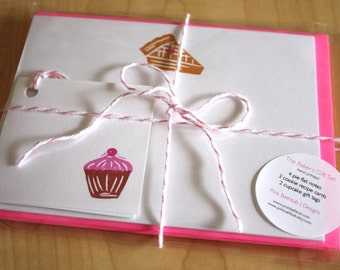 The Baker's Gift Pack - Pie Note Cards - Cookie Recipe Cards - Cupcake Gift Tags - Handmade Stationery, Recipe Cards and Tags