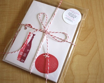 Italian Dinner Gift Pack - Tomato Note Cards - Pasta Recipe Cards - Wine Gift Tags - Handmade Stationery, Recipe Cards and Tags