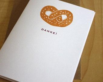 Danke German Thank You Cards - Pretzel Thank You Cards - Hand Printed Greeting Thank You Cards - Box of 6