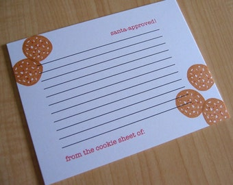 Christmas Cookie Recipe Cards - Holiday Cookie Recipe Cards - Santa Approved Cookies - Hand Printed Recipe Cards -  Set of 5
