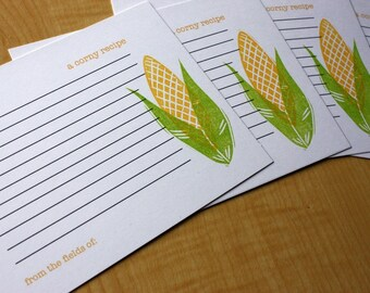Corn - Corny - Handmade Recipe Cards - Set of 5