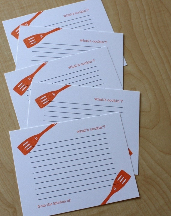 What's Cookin' - Handmade Recipe Cards - Set of 5