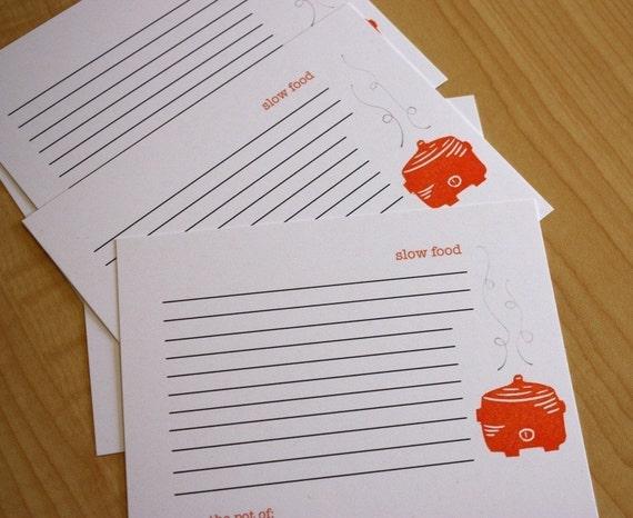 Slow Food - Crockpot - Recipe Cards - Set of 5
