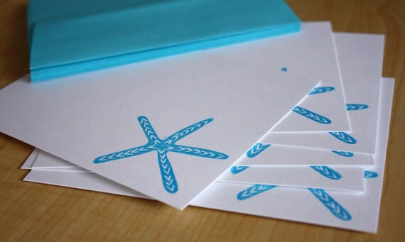 Blue Starfish - Handmade Stationery - Set of 6