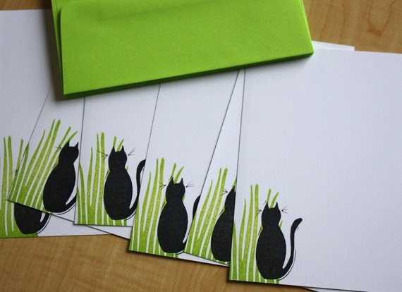 Black Cat in Grass - Handmade Stationery - Set of 6