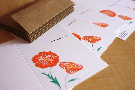 California Poppies - Thank You - Flower Thank You - Handmade Cards - Box of 6