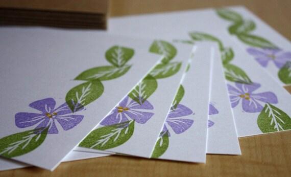 Vinca Vine with Purple Flower - Handmade Stationery - Set of 6