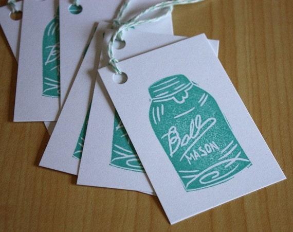 Ball Mason Jar - Handmade Gift Tags - Set of 6