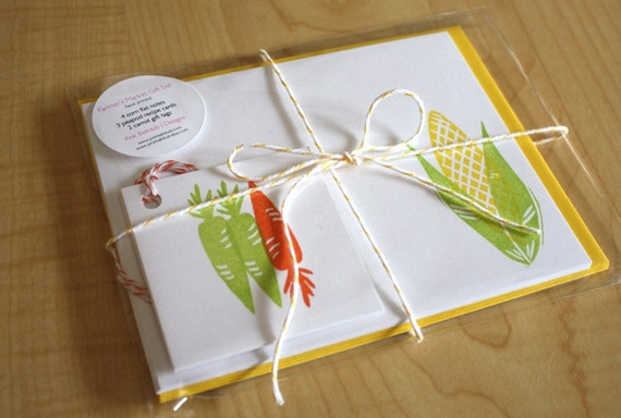 Farmer's Market Gift Pack - Handmade Stationery, Recipe Cards and Tags
