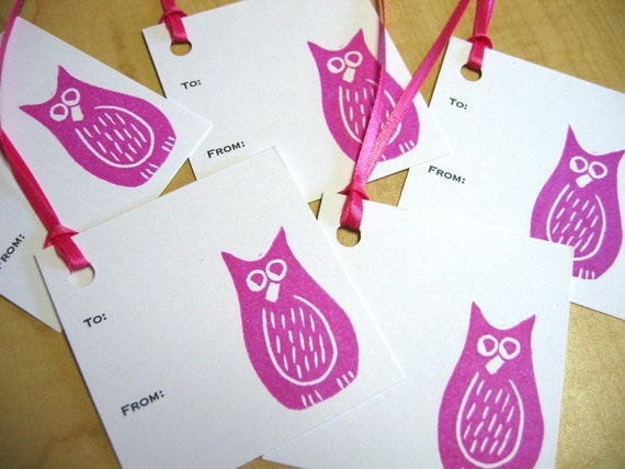 Gift Tags - Pink Owl - Set of 5