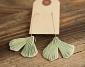 Light Green Ginkgo Leaf Porcelain Earrings - ON SALE