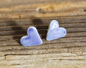 Earrings - Tiny Periwinkle Blue Porcelain Hearts - ON SALE