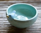 Sweet Little Blue Bird on a Tiny Aqua Blue Bowl