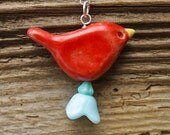 Red Pottery Bird Necklace with Vintage Baby Blue Glass Flower - On Sale