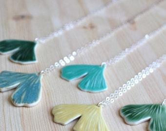 Porcelain Ginkgo Leaf Necklace - Made-To-Order - ON SALE